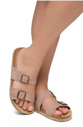Shoe Land SL-Nylah-Open Toe Buckled Cork Slide Sandal(Mauve)