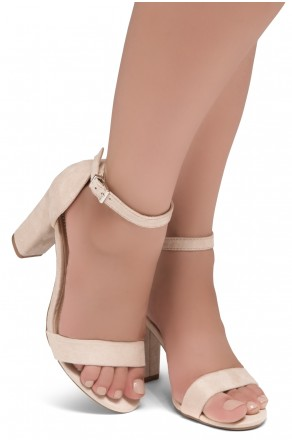 Shoe Land SL-ROMINA-Women's Open Toe Ankle Strap Chunky Block Heel Dress Sandals (Nude)