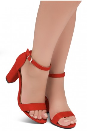 Shoe Land SL-ROMINA-Women's Open Toe Ankle Strap Chunky Block Heel Dress Sandals (Red)