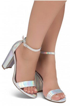 Shoe Land SL-Rosemmina Open Toe Ankle Strap Chunky Heel (1901Silver)