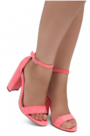 Shoe Land SL-Rosemmina Open Toe Ankle Strap Chunky Heel (Fuchsia)