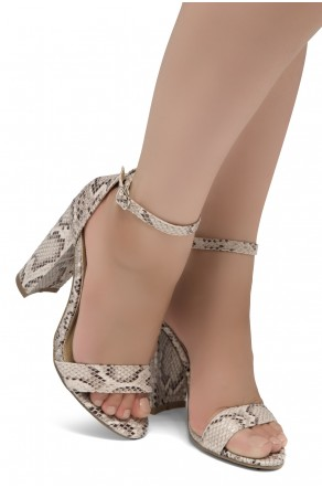Shoe Land SL-Rosemmina Open Toe Ankle Strap Chunky Heel (NAT SNK)
