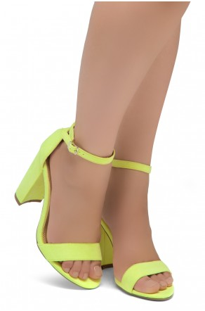 Shoe Land SL-Rosemmina Open Toe Ankle Strap Chunky Heel (YellowNeon)