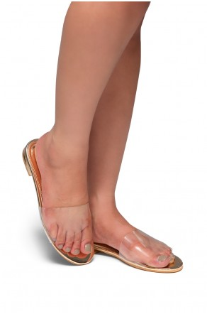 HerStyle SL-SERENNA-Transparent Band Open Toe Slip-On Flat Sandal (Rose Gold)