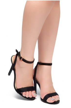 HerStyle Slay All Day-Open Toe Ankle Strap Stiletto Heel (Black)