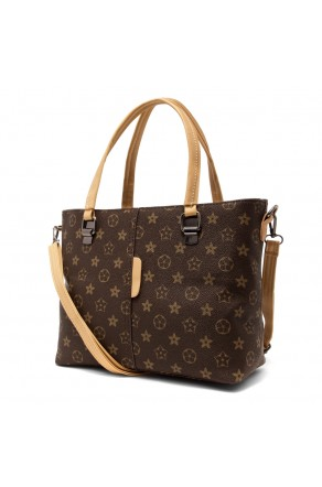 SLD-BELLE- Roomy Tonal Pattern Casual Tote Bag (Brown)