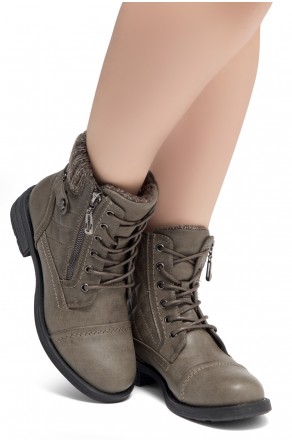 HerStyle SLGABRIANNA-Lace up Plaid Fold down Combat Booties (1721/Grey)