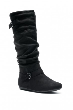 Women's Black Slollie Faux Suede Calf Length Slouchy Buckled Up Boots