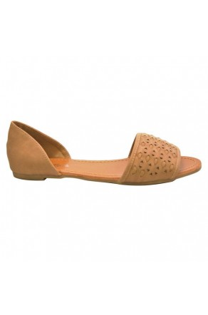 Women's Tan Peep Toe Woven Flat Sandal SLPENINA