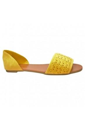 Women's Yellow Peep Toe Woven Flat Sandal SLPENINA