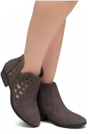 ShoeLand Sobrylla-Perforated Cutout Accents Stacked Low Heel Almond Toe Ankle Booties (Grey)