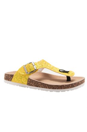 HerStyle SOFTEY-Open Toe Buckled Cork Slide Sandal(1896 LimeGlitter)