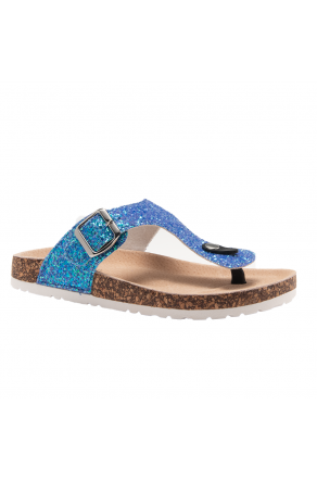 HerStyle SOFTEY-Open Toe Buckled Cork Slide Sandal(1896 RoyalBlueGlitter)