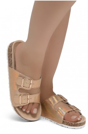 HerStyle SOFTEY-Open Toe Buckled Cork Slide Sandal(1901/Rosegold/Snake)