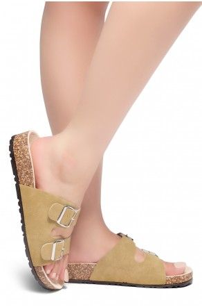 HerStyle SOFTEY-Open Toe Buckled Cork Slide Sandal(Cognac)