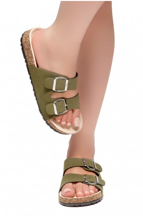 HerStyle SL-110115 Open Toe Buckled Cork Slide Sandal (Forest Green)