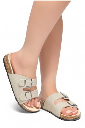 HerStyle SOFTEY-Open Toe Buckled Cork Slide Sandal(Khaki)