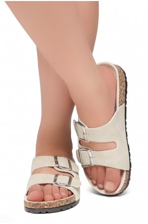 HerStyle SOFTEY-Open Toe Buckled Cork Slide Sandal(Taupe)
