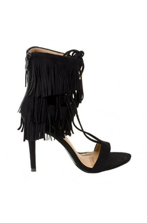 Women's Black Manmade Sophiiee 4.5-inch Sandal with Fringed Ankle Flair
