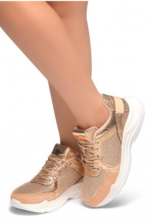 HerStyle Speedie- Front Lace Up, Spec Glitter Contrast Chic Style Sneakers (RoseGold/White)