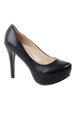 Women's Black Manmade Spiccyy 5-inch Platform Pump with Patent Shine