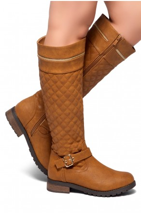 HerStyle Street Edge-Quilted, Zipper and Buckle Trim Riding Knee High Boots (Cognac)
