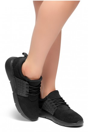 HerStyle STYLE CATCHER-Knit Lace up Rigged Sneaker (Black)