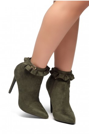 HerStyle STYLE TAKE-Stiletto heel, ankle ruffle detail Booties (Olive)