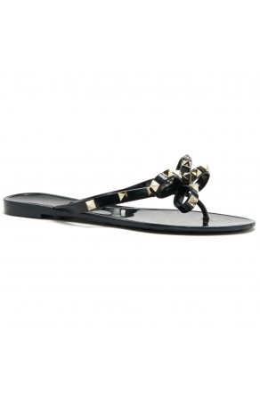 Shoe Land SUMMER-Women's Flip Flops Jelly Sandals With Studs Accents(1896/Black)