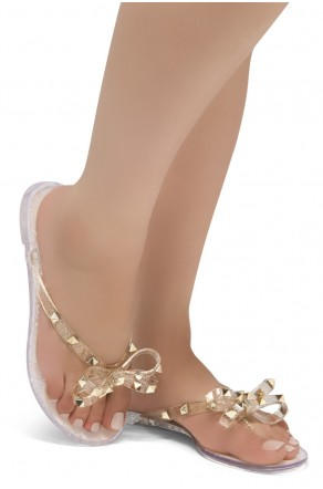 Shoe Land SUMMER-Women's Flip Flops Jelly Sandals With Studs Accents(1896/Nude)