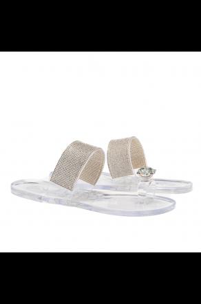 Shoe Land SUMMER-Women's Rhinestone Vamp Flip Flops Toe Ring Jelly Sandals (1901/Clear)