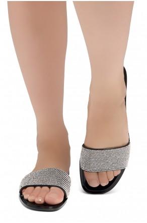 Shoe Land SUMMER-Women's Rhinestone Vamp Flip Flops Jelly Sandals (1918 BLK/SLV)