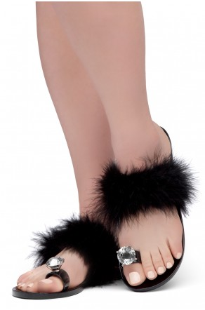 Shoe Land SUMMER Women's Cute Toe Ring Fur Slides Slippers Fashion Comfort Flat Sandals(2000BlackFur)