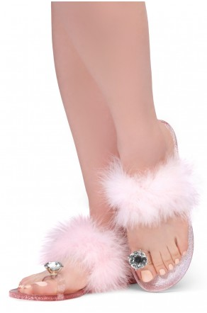 Shoe Land SUMMER Women's Cute Toe Ring Fur Slides Slippers Fashion Comfort Flat Sandals(2000PinkFur)