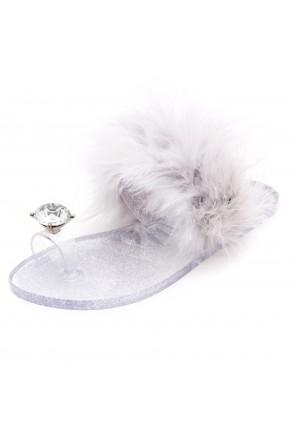 Shoe Land SUMMER Women's Cute Toe Ring Fur Slides Slippers Fashion Comfort Flat Sandals(2000SilverFur)