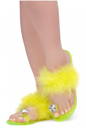 Shoe Land SUMMER Women's Cute Toe Ring Fur Slides Slippers Fashion Comfort Flat Sandals(2000YellowFur)