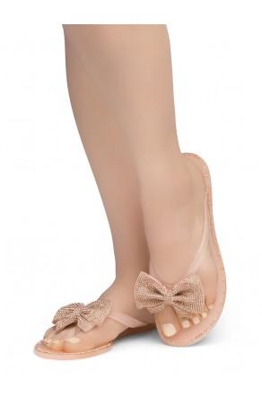 Shoe Land SUMMER-Women Rhinestone Bowtie Flip Flops Jelly Thong Sandals (Nude/Rosegold)