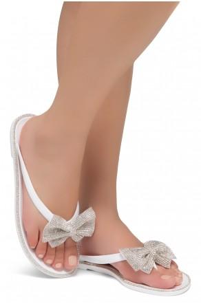 Shoe Land SUMMER-Women Rhinestone Bowtie Flip Flops Jelly Thong Sandals (White/Silver)