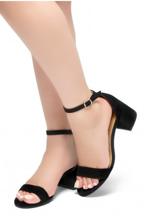 HerStyle SUNDAY-open toe, block heel,ankle strap with an adjustable buckle (BlackNubuck)