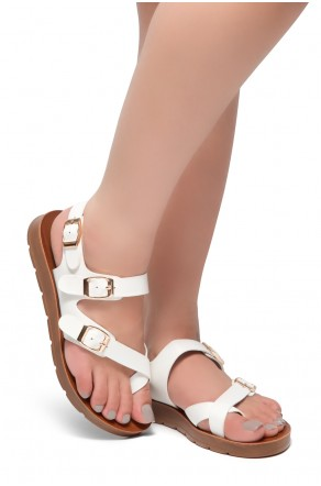 HerStyle Women's Manmade SURE THING- Flat Sandal with buckle accents(White)