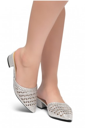 HerStyle SWEET TALK- Pointed Toe Stuck Heel jeweled embellishment vamp slipper (Silver)