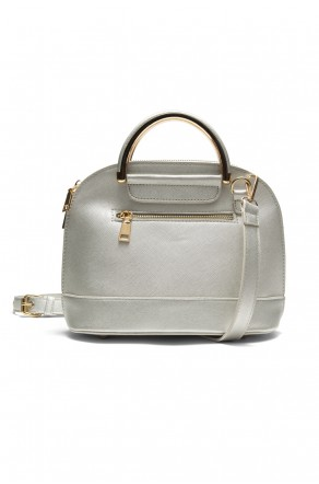 SZ11-16216- Zip around dome satchel mini top handle tote (Silver)
