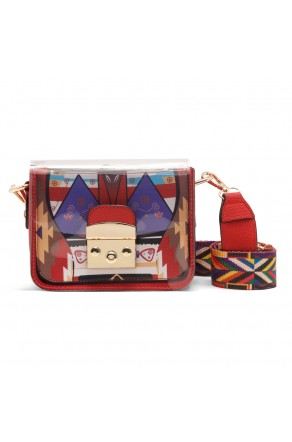 SZ11-LH2-16323 - Women's Cute Mini Transparent PVC Plastic Crossbody Bag (Red)