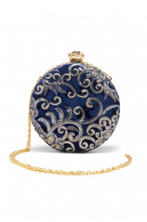 SZY-197- Embellished Circle Shape Evening Bag (Blue)