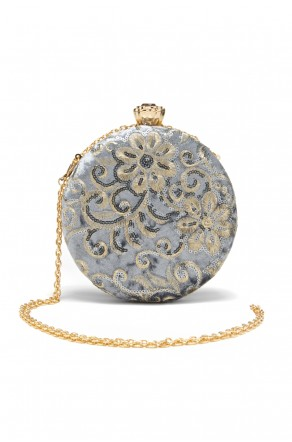 SZY-197- Embellished Circle Shape Evening Bag (Grey)