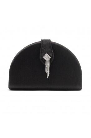 SZY-E1090-Women's Elegant Semi Circle Box Clutch Bag (Black)