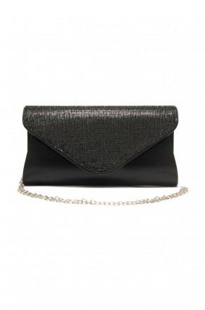 SZY-E8302- Emblazoned with rhinestone women's stylish envelope purse (Black)