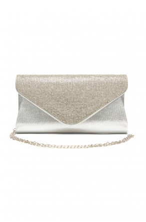 SZY-E8302- Emblazoned with rhinestone women's stylish envelope purse (Silver)