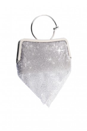 SZY-E8304-Trendy circle handle sparkled with mesh rhinestone clutch (Silver)