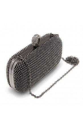 SZY-E8309- Women's Rhinestone Overlay Fully Sequined Mesh Evening Bag (Black)